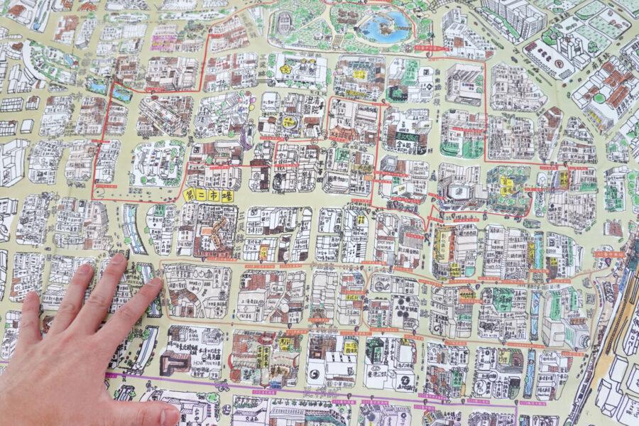 中区再生基地の学生たちが制作した歴史建築をマッピングした地図